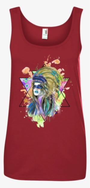 86478ad90a7f7b Watercolor Headdress Ladies  Tank Top - Ladies  100% Ringspun Cotton ...