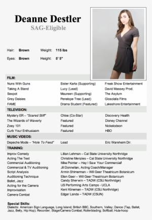 How To Make A Resume For Acting With No Experience Example Of