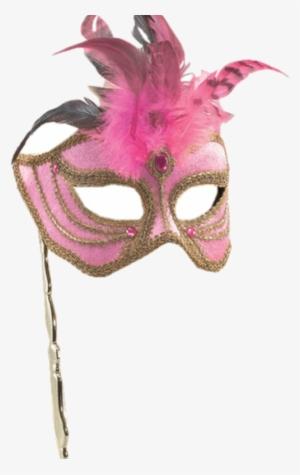 MASKED BALL Feathers On Stick MASQUERADE EYE MASK Black Mask//Silver Trim