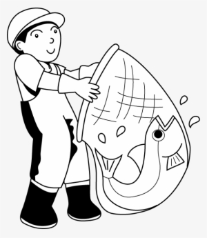 Fish Net Clipart Fisherman Fisherman Clipart Black And White Transparent Png 553x636 Free Download On Nicepng