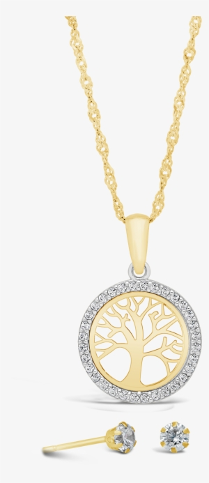 9ct Gold Circle Cubic Zirconia Tree Of Life Pendant Nwj Jewellery Transparent Png 3000x3000 Free Download On Nicepng