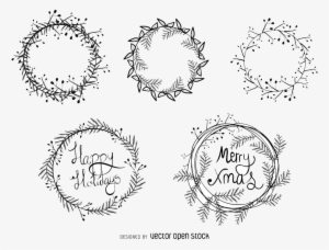 Drawings Of Christmas Wreaths.Christmas Wreath Vector Png Download Transparent Christmas